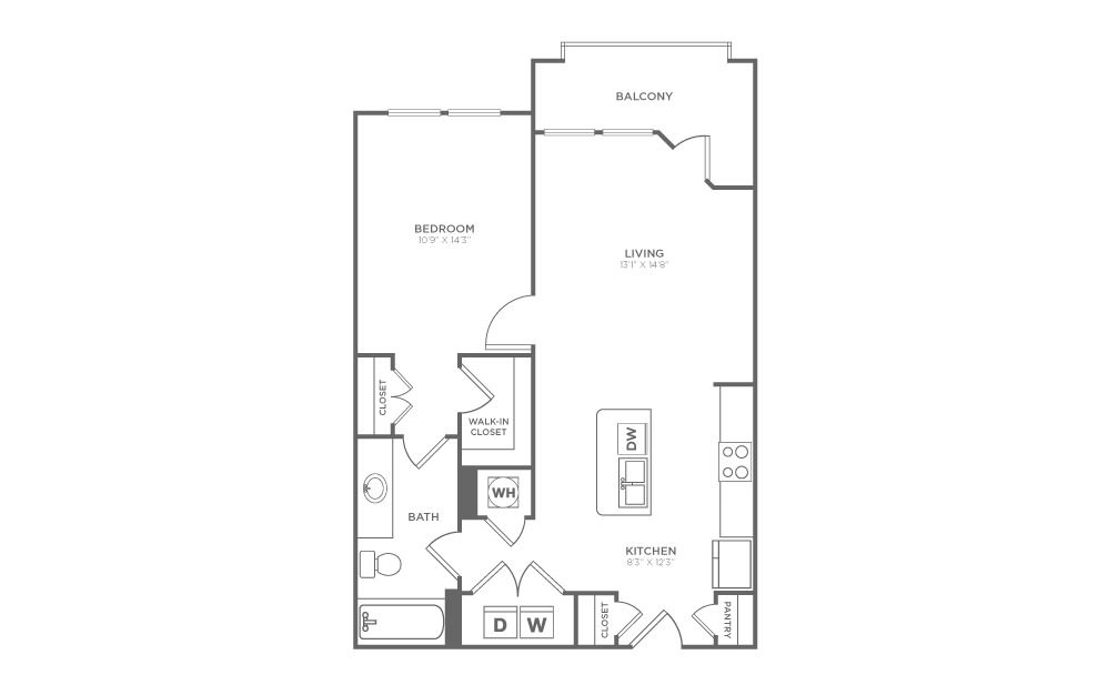 A1.1 - 1 bedroom floorplan layout with 1 bath and 729 square feet.