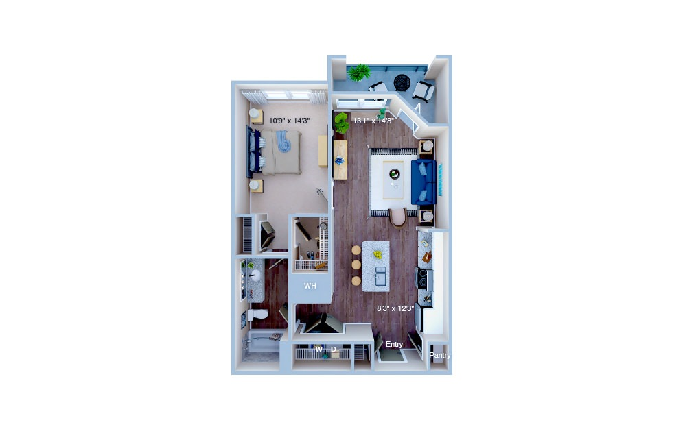 A1.1 - 1 bedroom floorplan layout with 1 bath and 729 square feet. (3D)