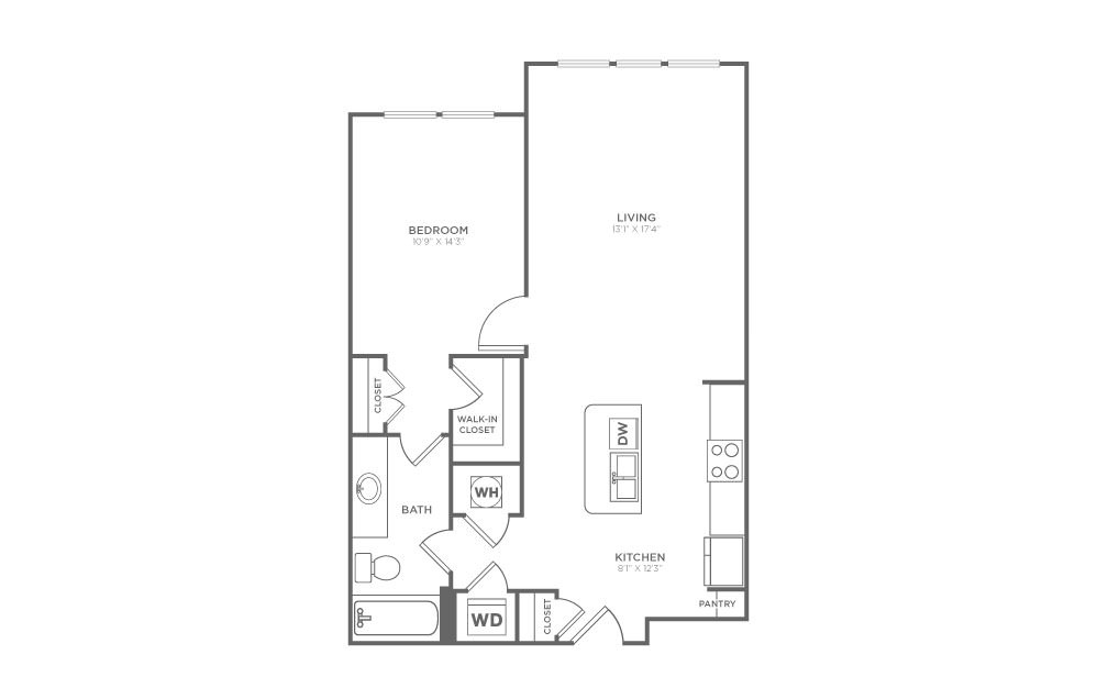 A1.2 - 1 bedroom floorplan layout with 1 bath and 792 square feet. (2D)