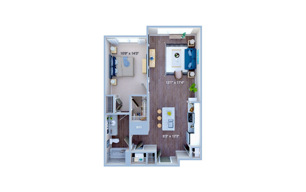 A1.2 - 1 bedroom floorplan layout with 1 bath and 792 square feet. (3D)