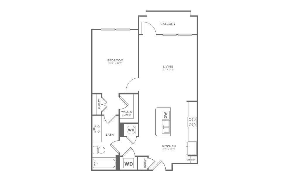 A1.3 - 1 bedroom floorplan layout with 1 bath and 736 square feet.