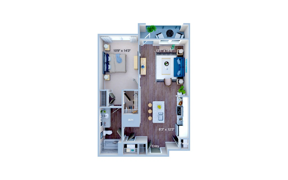 A1.3 - 1 bedroom floorplan layout with 1 bath and 736 square feet. (3D)