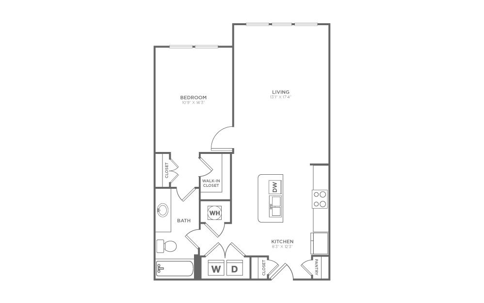 A1.4 - 1 bedroom floorplan layout with 1 bath and 798 square feet. (2D)