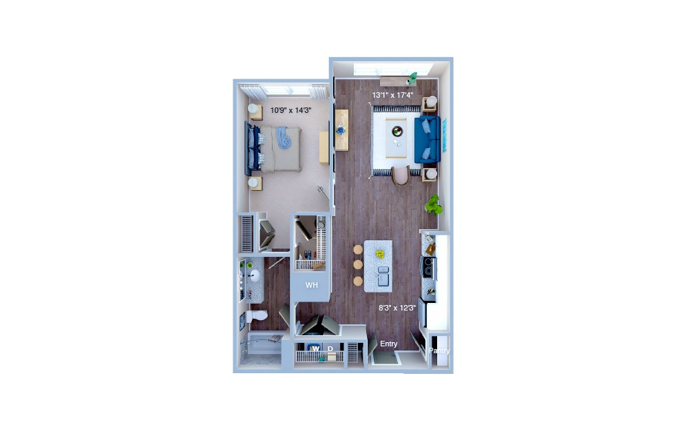 A1.4 - 1 bedroom floorplan layout with 1 bath and 798 square feet. (3D)