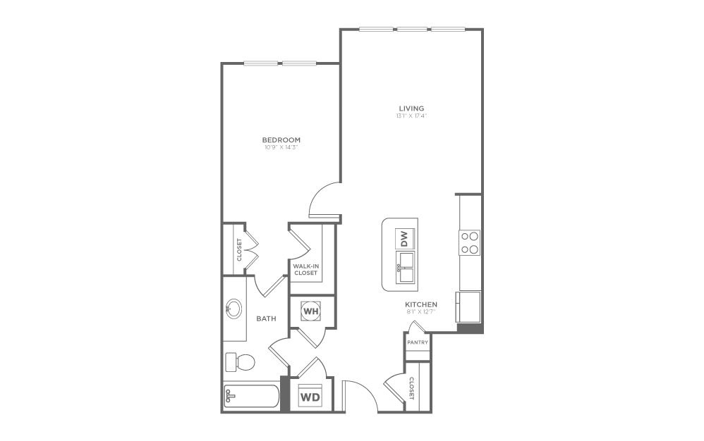 A1.6 - 1 bedroom floorplan layout with 1 bath and 764 square feet. (2D)