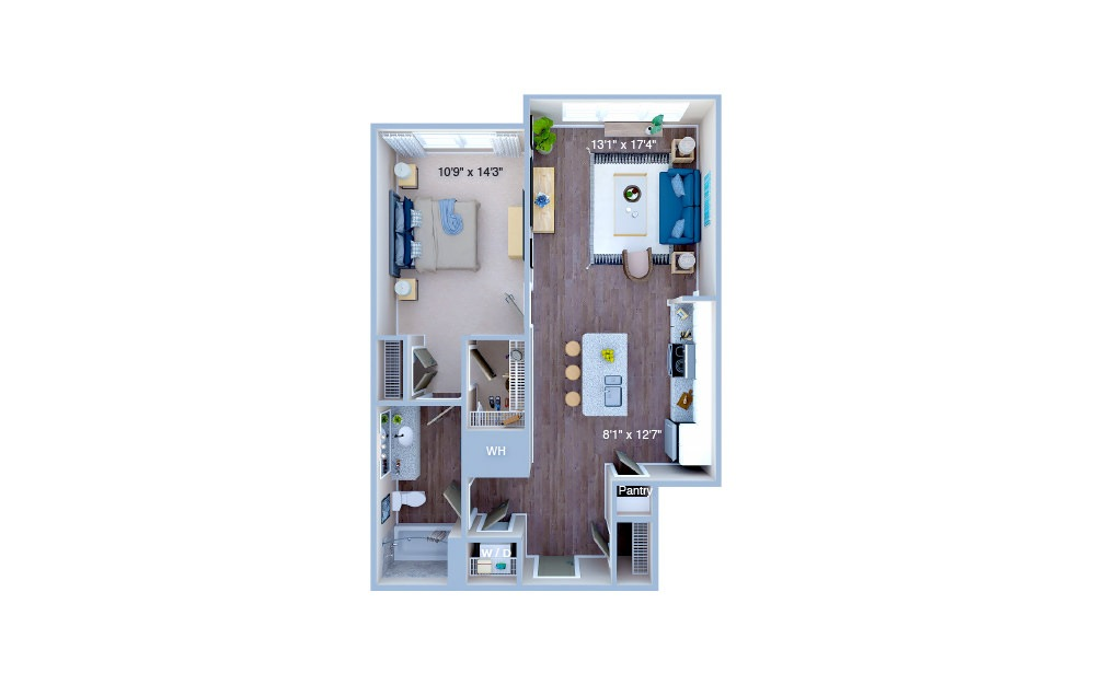 A1.6 - 1 bedroom floorplan layout with 1 bath and 764 square feet. (3D)