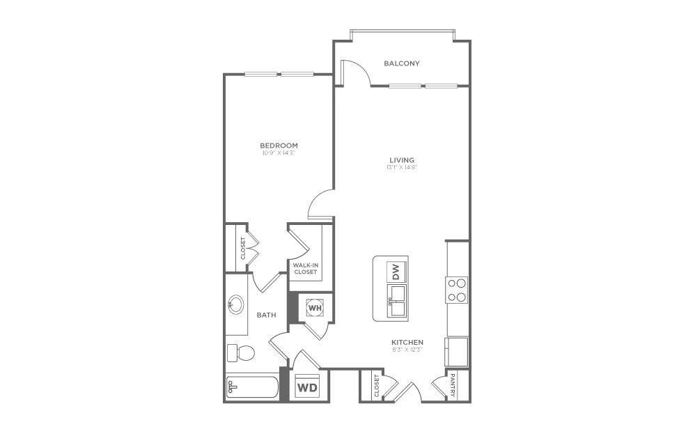 A1.7 - 1 bedroom floorplan layout with 1 bath and 732 square feet. (2D)