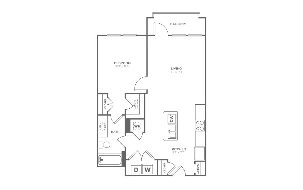 A1.8 - 1 bedroom floorplan layout with 1 bath and 719 square feet. (2D)