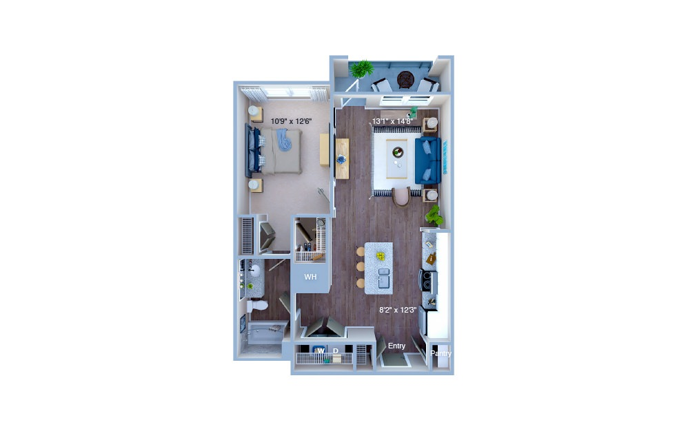 A1.8 - 1 bedroom floorplan layout with 1 bath and 719 square feet. (3D)