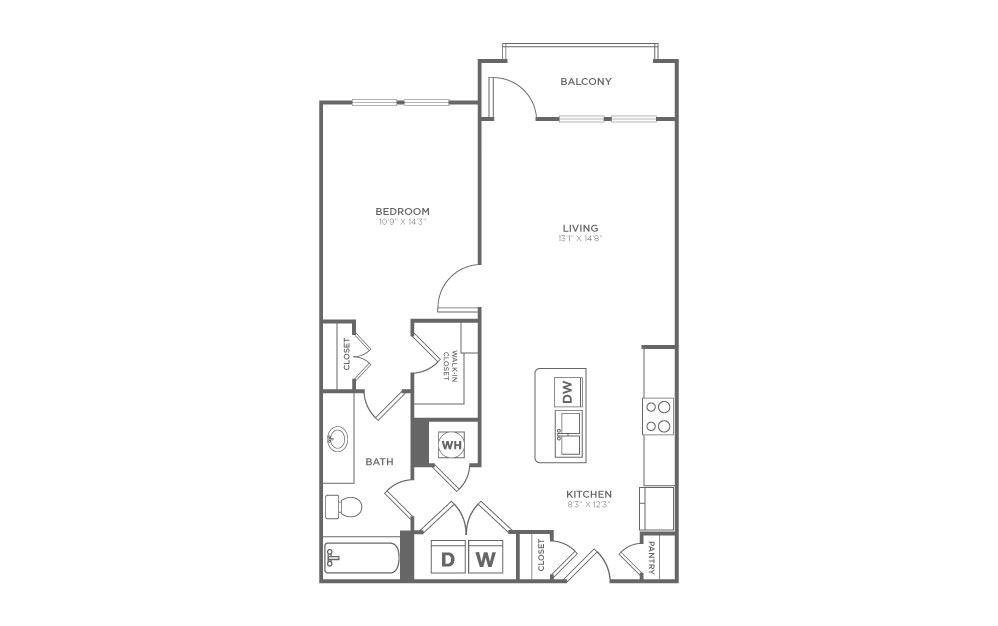 A1 - 1 bedroom floorplan layout with 1 bath and 742 square feet.