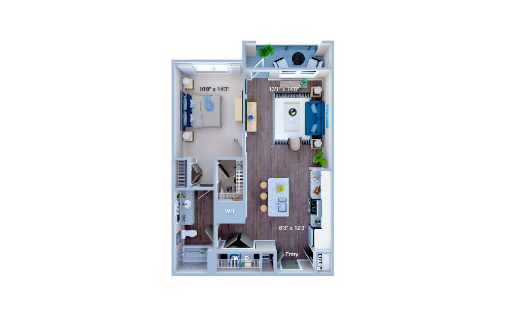 A1 - 1 bedroom floorplan layout with 1 bath and 742 square feet. (3D)