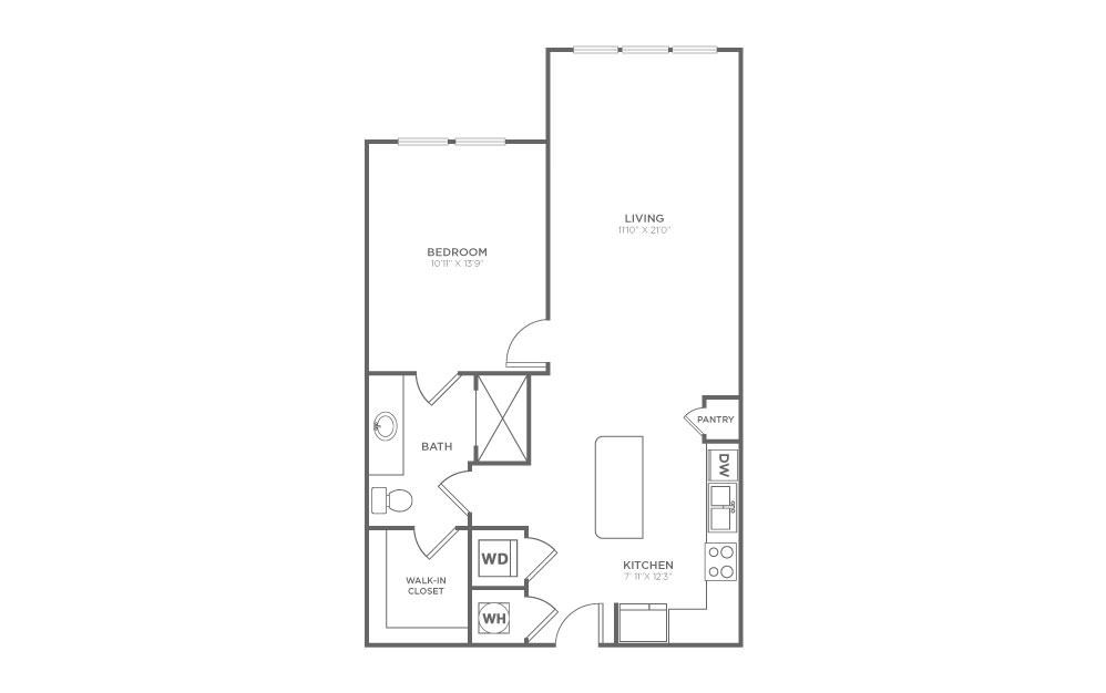 A2.1 - 1 bedroom floorplan layout with 1 bath and 763 square feet.