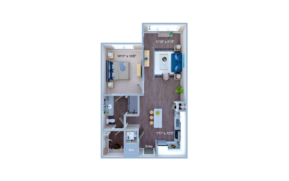 A2.1 - 1 bedroom floorplan layout with 1 bath and 763 square feet. (3D)