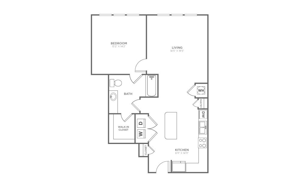 A2.2 - 1 bedroom floorplan layout with 1 bath and 874 square feet.