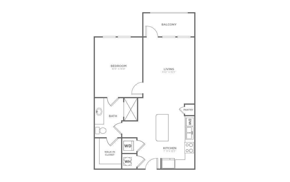 A2.3 - 1 bedroom floorplan layout with 1 bath and 695 square feet.