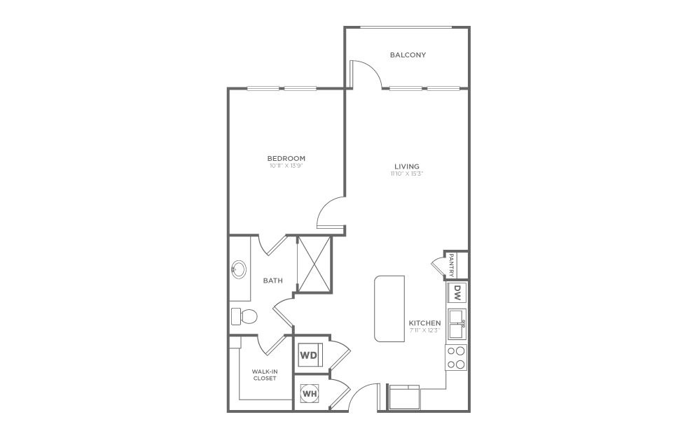 A2 - 1 bedroom floorplan layout with 1 bath and 695 square feet. (2D)