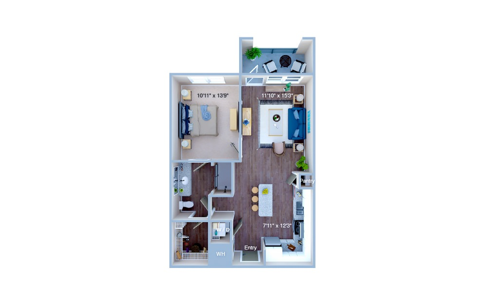 A2 - 1 bedroom floorplan layout with 1 bath and 695 square feet. (3D)