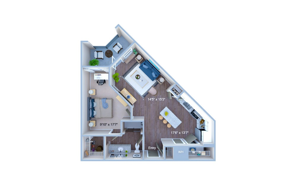 A3 - 1 bedroom floorplan layout with 1 bath and 761 square feet. (3D)