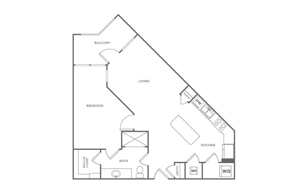 A3 - 1 bedroom floorplan layout with 1 bath and 761 square feet. (2D)