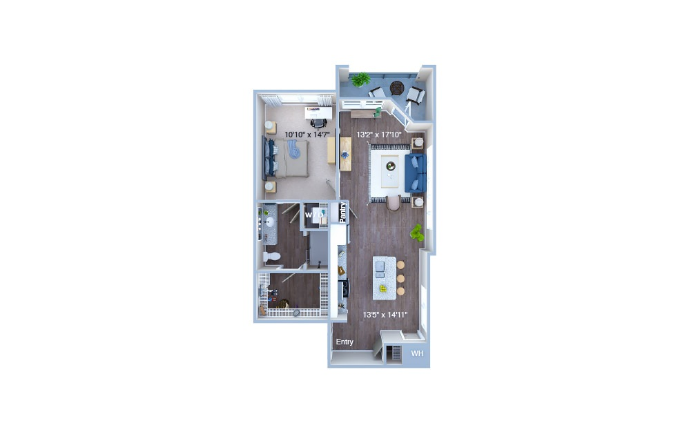 A4 - 1 bedroom floorplan layout with 1 bath and 786 square feet. (3D)