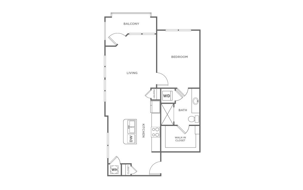 A4.2 - 1 bedroom floorplan layout with 1 bath and 787 square feet. (2D)