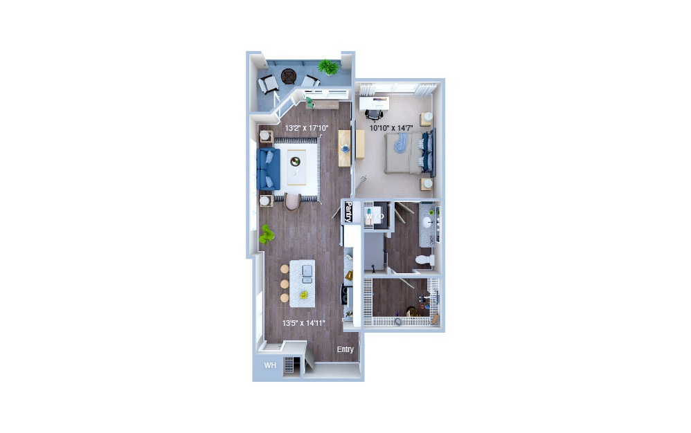 A4.2 - 1 bedroom floorplan layout with 1 bath and 787 square feet. (3D)