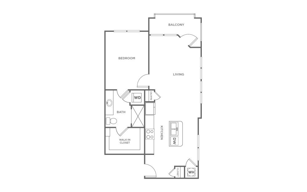 A4 - 1 bedroom floorplan layout with 1 bath and 786 square feet. (2D)