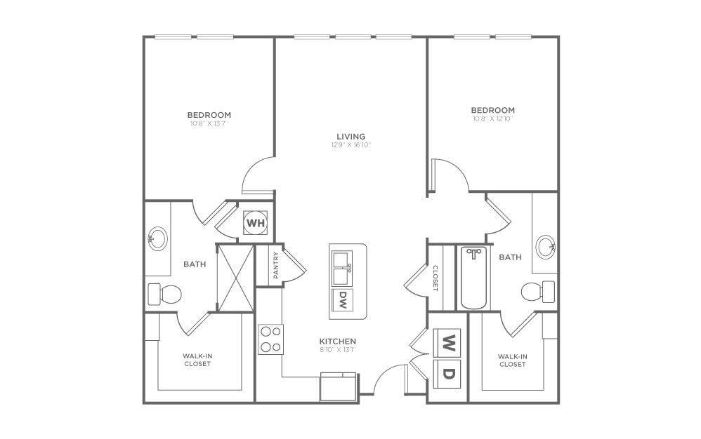 B1.1 - 2 bedroom floorplan layout with 2 baths and 1020 square feet. (2D)