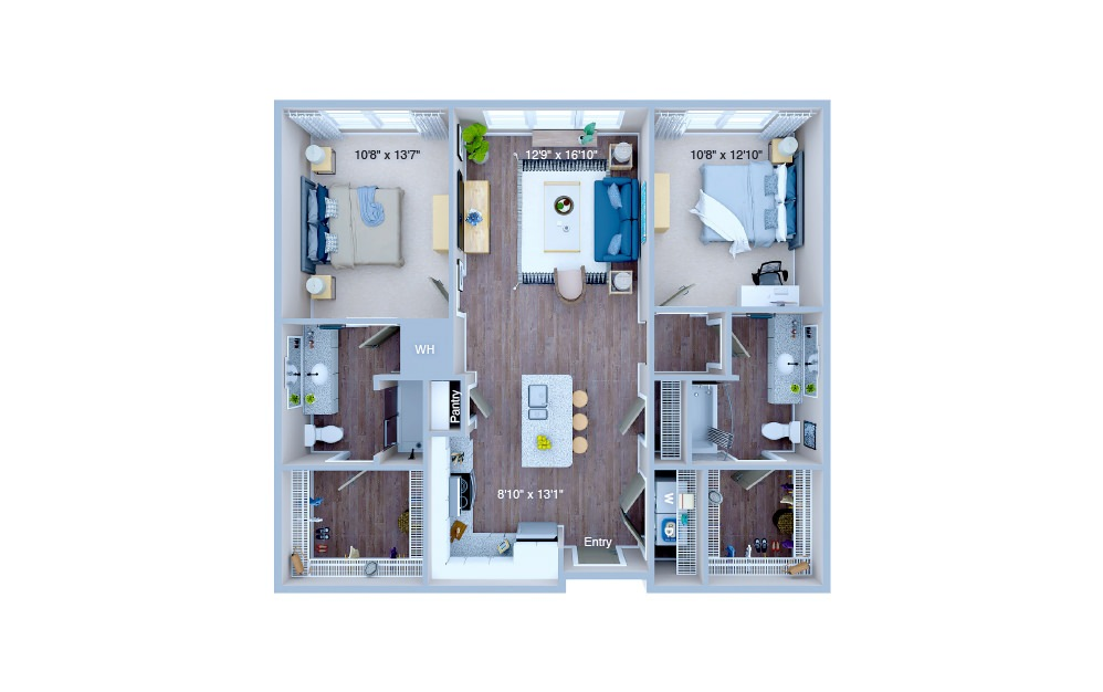 B1.1 - 2 bedroom floorplan layout with 2 baths and 1020 square feet. (3D)