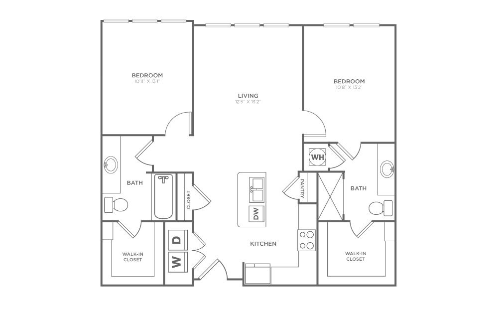 B1.2 - 2 bedroom floorplan layout with 2 baths and 1013 square feet. (2D)