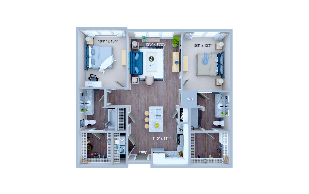 B1.2 - 2 bedroom floorplan layout with 2 baths and 1013 square feet. (3D)