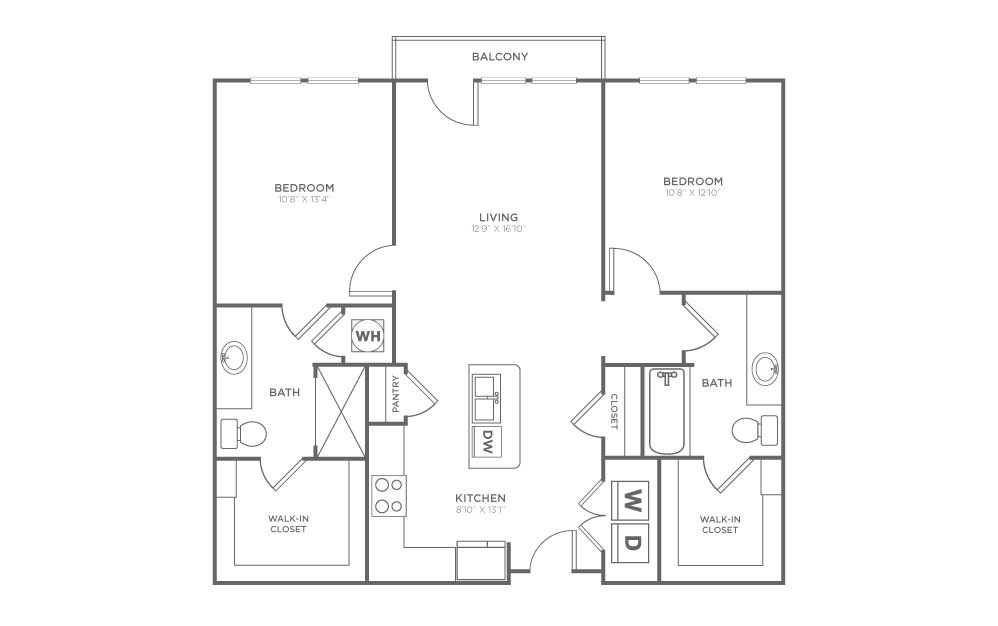 B1.3 - 2 bedroom floorplan layout with 2 baths and 1020 square feet. (2D)