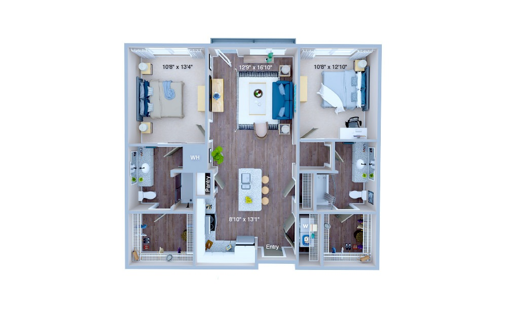 B1.3 - 2 bedroom floorplan layout with 2 baths and 1020 square feet. (3D)
