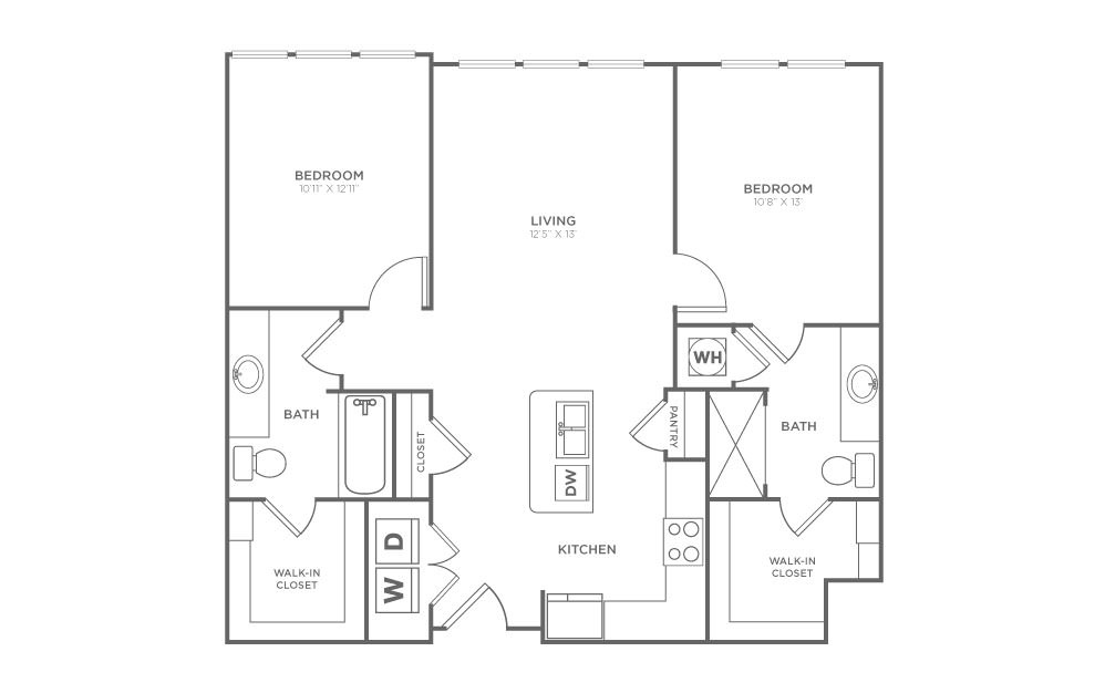 B1.4 - 2 bedroom floorplan layout with 2 baths and 1005 square feet. (2D)