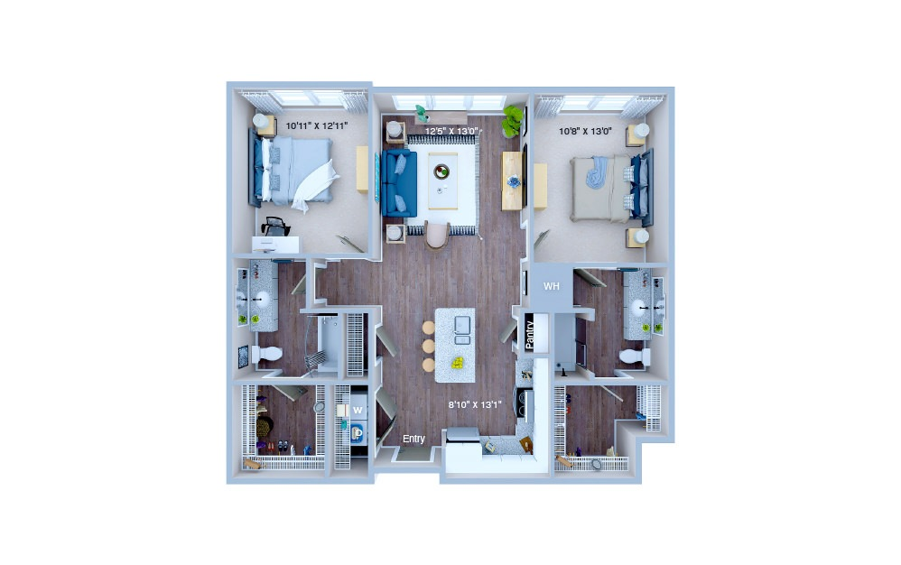 B1.4 - 2 bedroom floorplan layout with 2 baths and 1005 square feet. (3D)