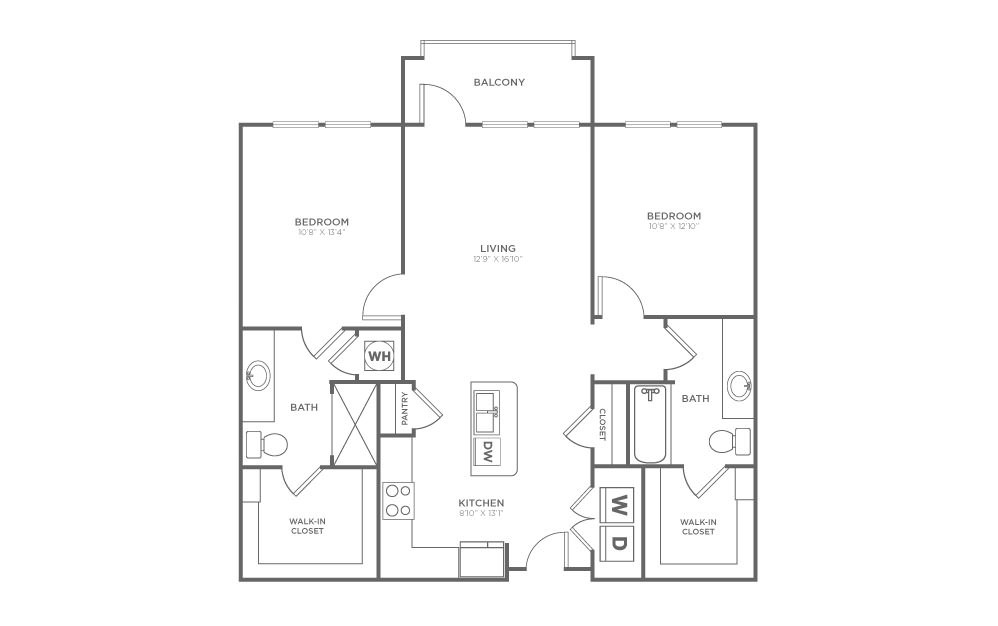 B1 - 2 bedroom floorplan layout with 2 baths and 1019 square feet.