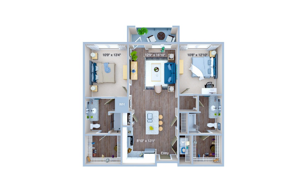B1 - 2 bedroom floorplan layout with 2 baths and 1019 square feet. (3D)