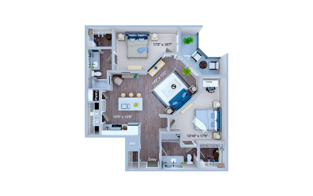 B2.1 - 2 bedroom floorplan layout with 2 baths and 1123 square feet. (3D)