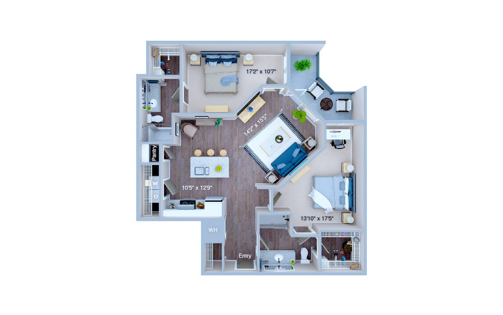B2 - 2 bedroom floorplan layout with 2 baths and 1130 square feet. (3D)