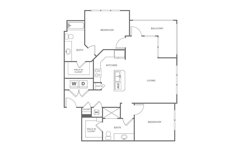 B3 - 2 bedroom floorplan layout with 2 baths and 1163 square feet. (2D)