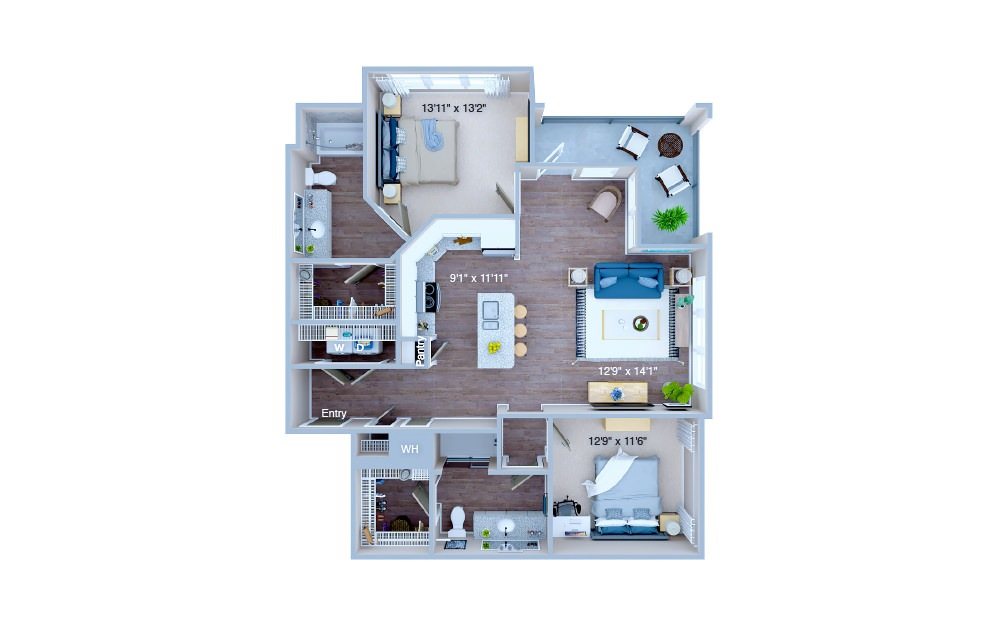 B3 - 2 bedroom floorplan layout with 2 baths and 1163 square feet. (3D)