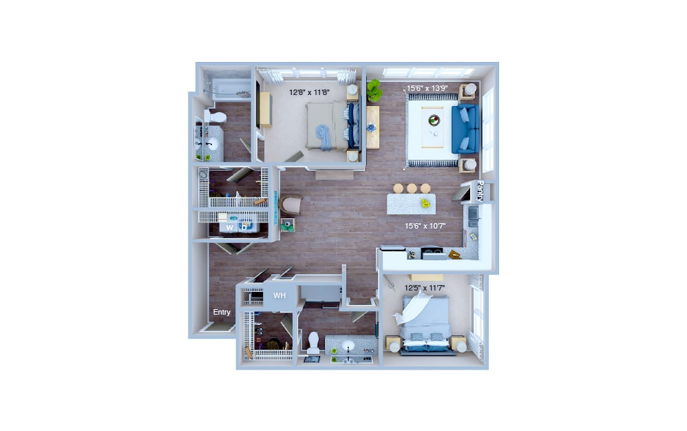 B4 - 2 bedroom floorplan layout with 2 baths and 1222 square feet. (3D)