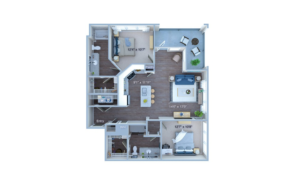 B5 - 2 bedroom floorplan layout with 2 baths and 1144 square feet. (3D)