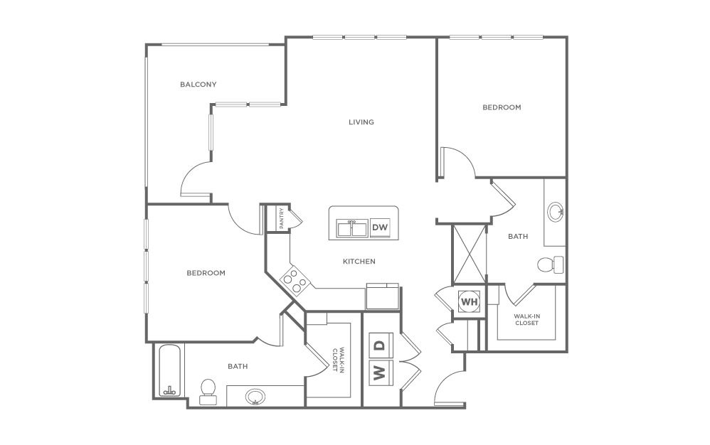 B5 - 2 bedroom floorplan layout with 2 baths and 1144 square feet. (2D)
