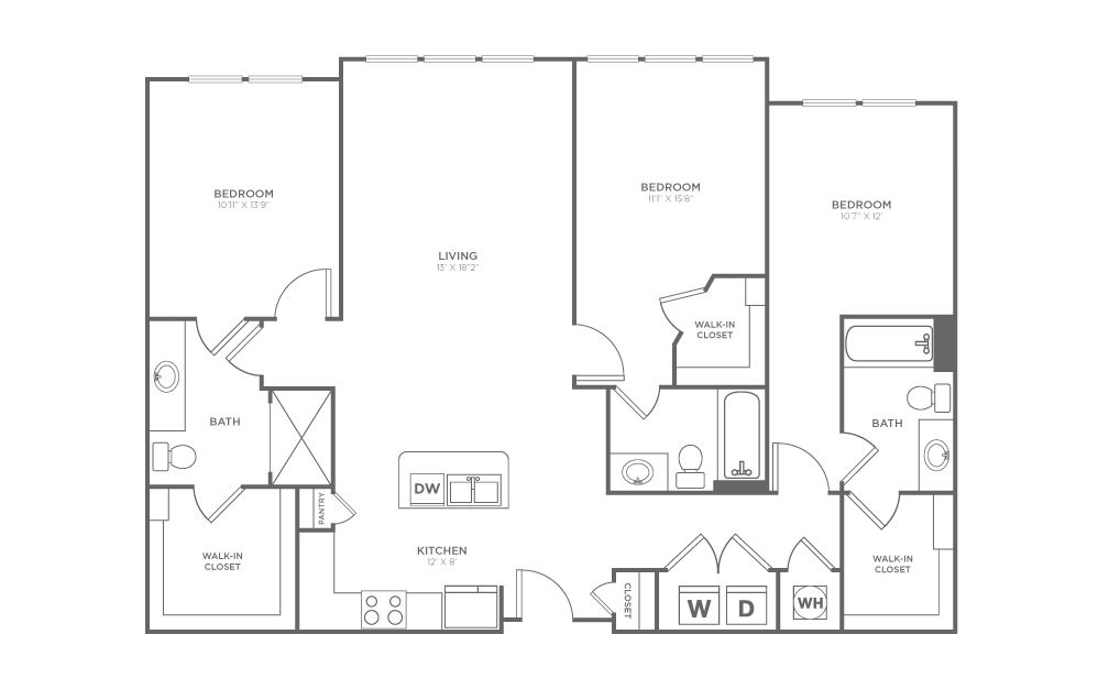 C1 - 3 bedroom floorplan layout with 3 baths and 1437 square feet. (2D)