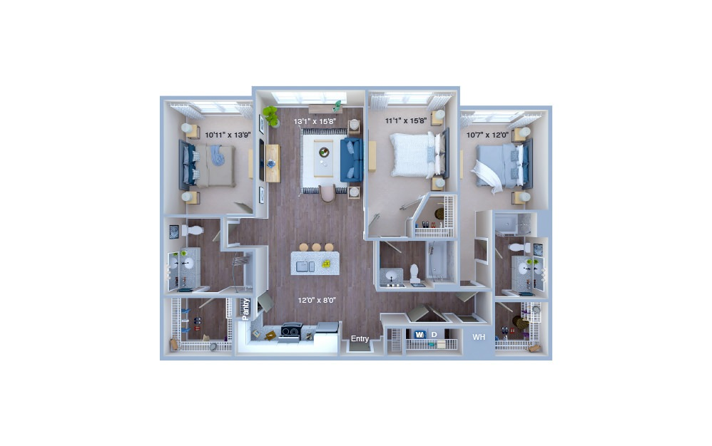C1 - 3 bedroom floorplan layout with 3 baths and 1437 square feet. (3D)