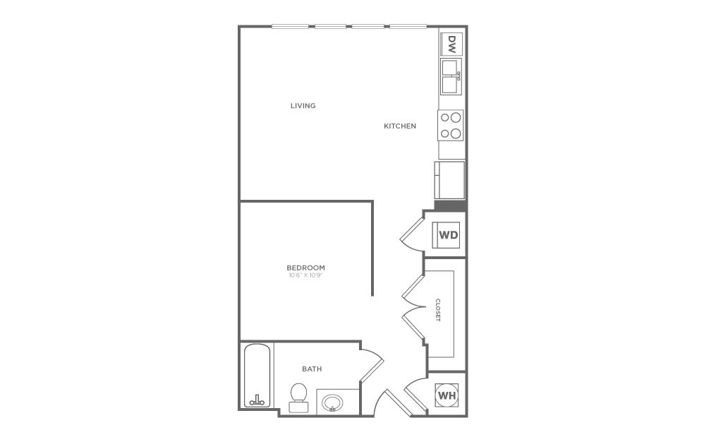S1 - Studio floorplan layout with 1 bath and 549 square feet. (2D)