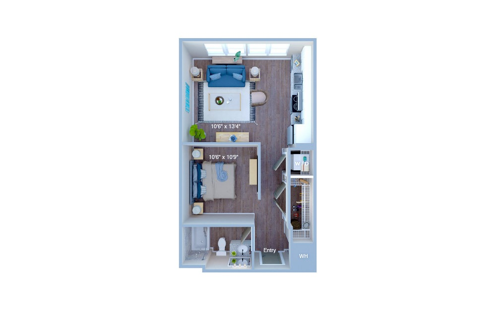 S1.2 - Studio floorplan layout with 1 bath and 518 square feet. (3D)