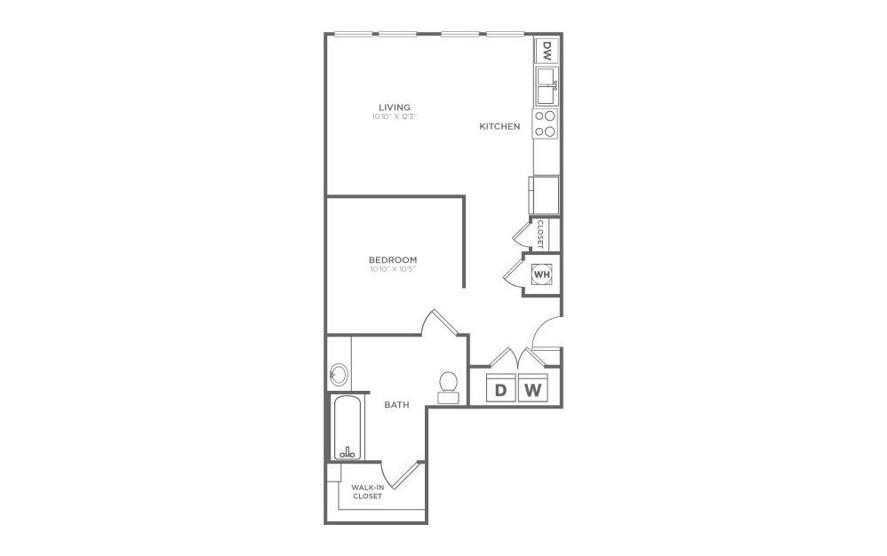 S2 - Studio floorplan layout with 1 bath and 593 square feet.