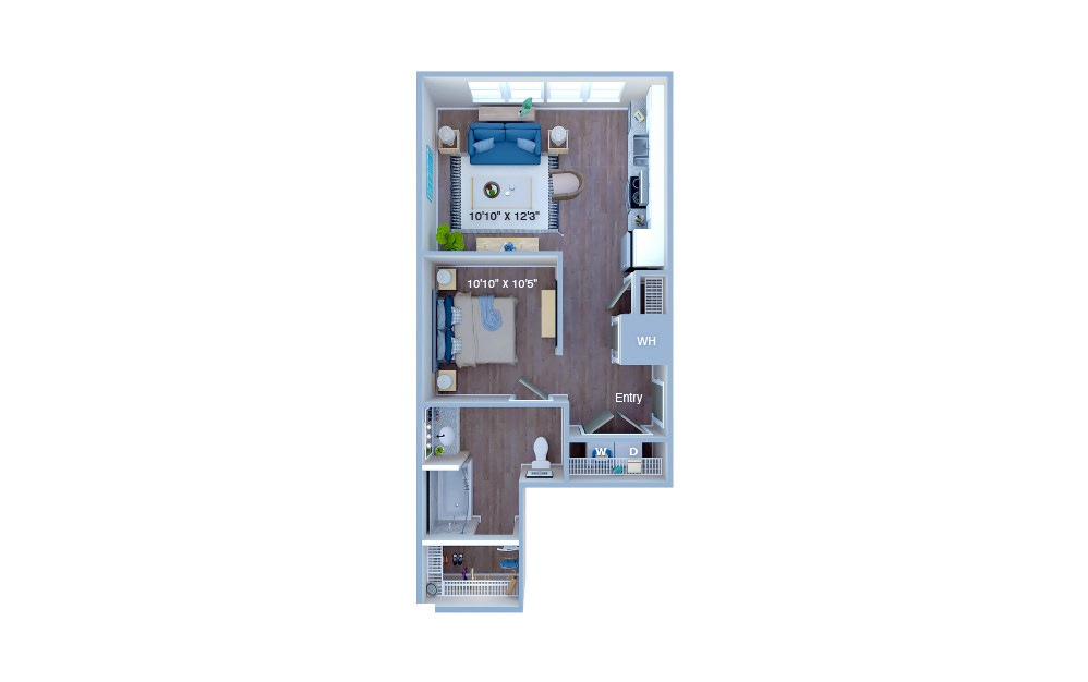 S2 - Studio floorplan layout with 1 bath and 593 square feet. (3D)